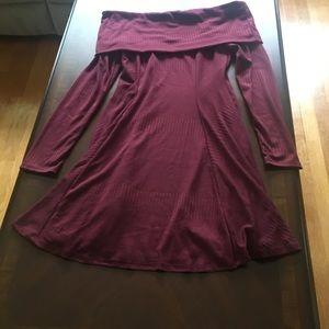 Burgundy off the shoulder sweater dress